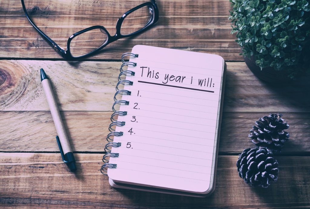 """2018 notebook, with """"This year I will"""" written on top page."""